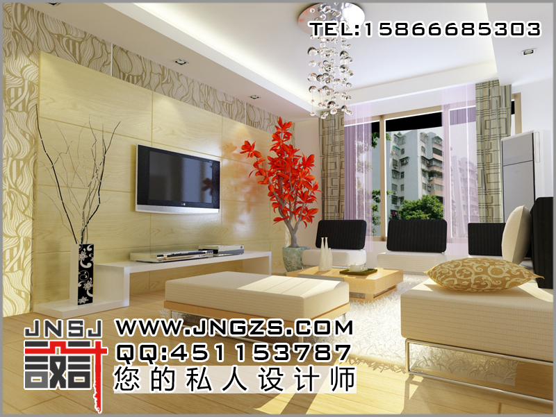 客厅影视墙效果图 客厅效果图 济南设计公司,山东柜台厂,效